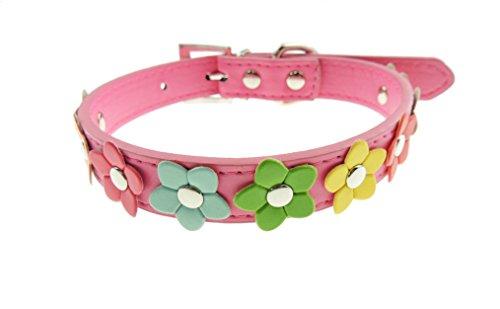 Leder Look Bunte Daisy Flower Cat Hundehalsband