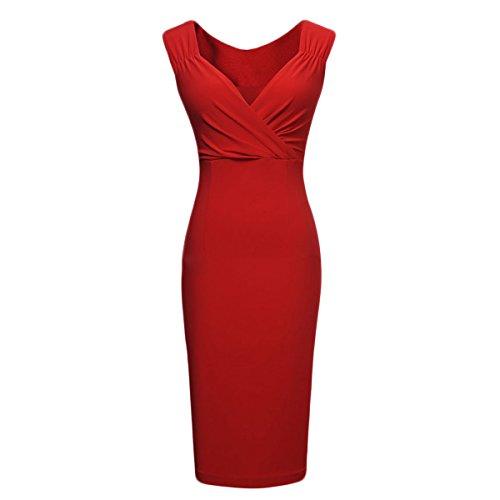 ISASSY - Robe - Femme - Moulante - Sans Manches - Mini - Col V - Uni - Noir / Rouge Rouge 084