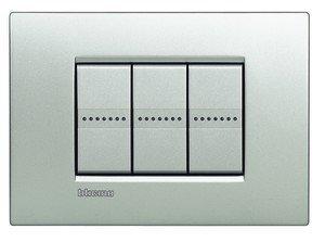 BTicino LNC4804TE Livinglight AIR Placca con 4 Moduli, Tech