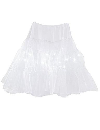 Legou Damen Vintage Party Rock mit LED-Licht Tüll Petticoat Reifrock Underskirt Weiß L