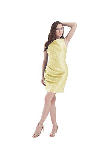 Bridal_Mall Damen Rund-Ausschnitt Prinzesskleider Kurz Satin mit Traeger Cocktail Partykleider Abendkleider Hellgelb