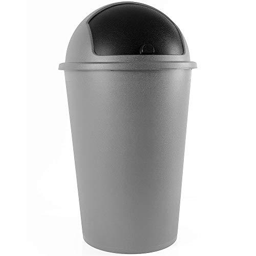 Deuba Abfalleimer 50L mit Schiebedeckel 68cm x 40cm Silber - Mülleimer Müllbehälter Abfallbehälter I Büro Küche Bad