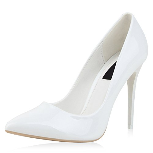 SCARPE VITA Spitze Damen Pumps High Heels Lack Stilettos Schuhe 160704 Weiss Lack 40