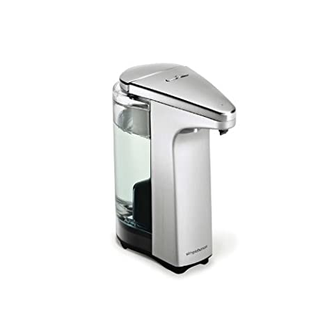 simplehuman compact touch-free sensor soap pump, automatic liquid dispenser, brushed