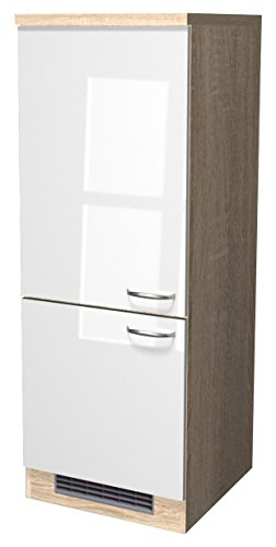 Flex-Well Exclusiv Demi-Geräteumbauschrank Valero 60 cm Hochglanz Weiß