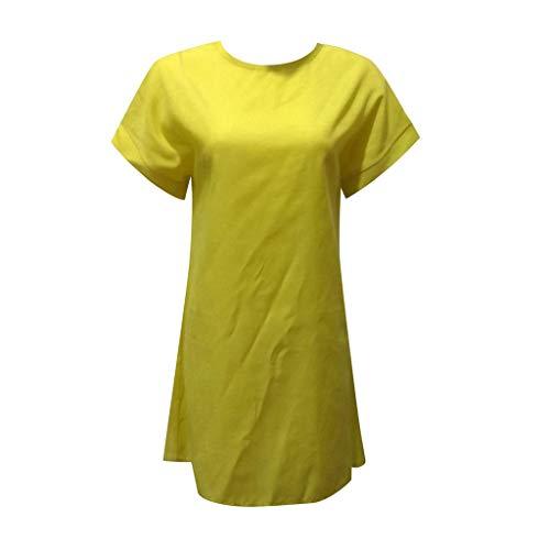 kolila Damen Sommer Leinen Kleid lose gerade über dem Knie Kleid lässig einfarbig O Hals Kurzarm Mini Kleider