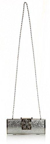 Il piccolo Hotel donna alla moda lucida, stanotte partito 22 x 10 x 5 cm Borsa econdo (L x A x P) Argento (argento)