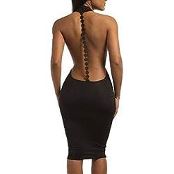 Vestido Mujer Sexy Corto Ajustado Verano Cuello en V Profundo sin Espalda Bodycon Backless Mini Vestido en Cóctel Club Bar Black M