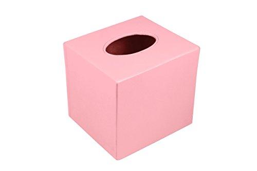 Lucrin - Boite carrée pour mouchoirs - Noir - Cuir Lisse Rose