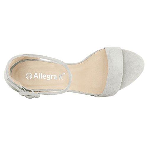 Allegra K Femme Talon Épais Sandales Sangle Cheville silver