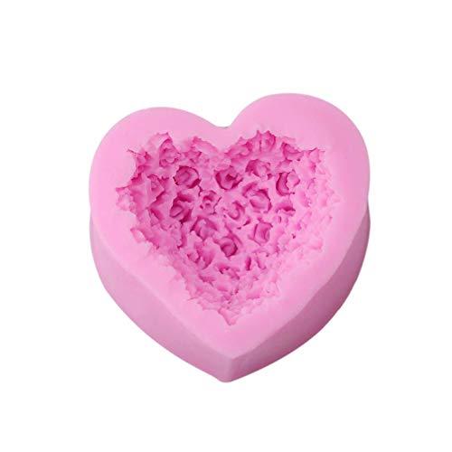 Vektenxi Premium Qualität 3D Liebe Herz Rose Blume Form Zuckerfertigkeit Silikonform Fondant Kuchen Schokoladenformen Dekorieren Backenwerkzeuge (Schokoladenform Rose)