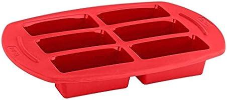 قالب مستطيل لخبز الكيك بقطع صغيرة من تيفال بروفليكس، 6 اقسام - احمر، J4092455