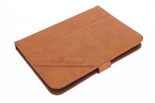 COOL BANANAS OldSchool Book Hülle, Tasche aus hochwertigem Kunstleder im Retro-Look, universal für Tablets und eBook-Reader bis 10 Zoll - Farbe Cognac-Braun