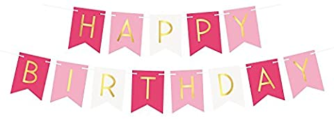 Tri-Color Pink & White Happy Birthday Bunting Banner – Birthday Party Decorations