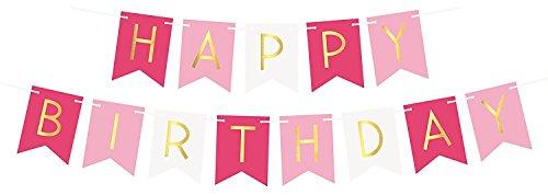Tricolore rosa e bianco striscione con bandierine buon compleanno con lettere d'oro scintillanti – Decorazioni per compleanno – 21imo – 30imo – 40imo – 50imo forniture per feste di compleanno
