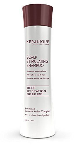 Keranique Deep Hydration Scalp Stimulating Shampoo, 8 Fl Oz - Keratin Amino Complex, Sulfate, Dyes And Parabens Free - Perfect For Dry, Damaged Hair, Strengthen And Thickens Hair