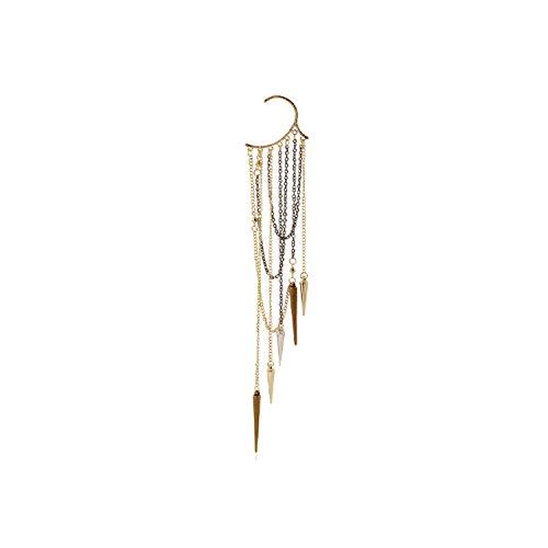 Boho Ethno-Ohrclips für Damen, Schmuck, goldfarben, silberfarben, lange Quasten, 1 Stück E0071G