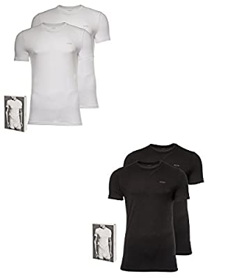 JOOP! Men 2-pack Fine Cotton Stretch Crew-Neck T-Shirt, Shirt Bipack, Onecolor - Black or White