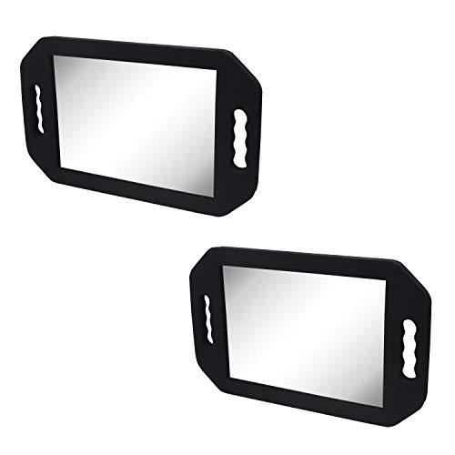 Espejo de peluquería - 40.5 x 25 cm Negro Espejo de Espuma con Doble Mango para Profesional del salón...