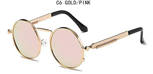 Li Kun Peng Sonnenbrille-Frauen-Retro- Punkart-Runder Metallrahmen-Bunte Linsen-Sonnenbrille-Art- Und Weisebrillen,C6Gold~Pink