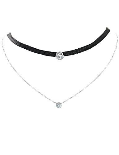 TIKIVILLE 925Sterling Silber schwarz Choker Halskette Set Brilliant CZ Diamanten 1,5ct Ziel Der Marke Tücher