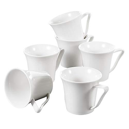 Vancasso Lolita Porzellan Kaffeebecher, 6 Teile, Kaffeetassen 325 ml, Weiß