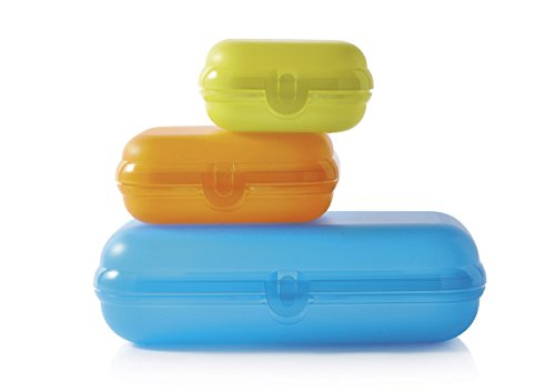 Tupperware Maxi-Twin Set of 3 Boxes, Kunststoff, orange/Blue/Green, 23.2 x 13.8 x 5.8 cm, 3-Einheiten