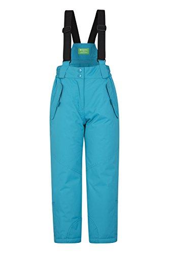 Mountain Warehouse Honey Schneehose für Kinder - Schneedicht, Schneegamaschen, Schneeanzug mit Reißverschluss am Knöchel, Abnehmbare Träger, 2 Taschen - Für Skiurlaub Blaugrün 104 (3-4 Jahre)