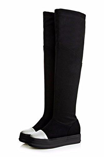 Stivali Camoscio Nero In Inverno Codice Alta Colore spugna Di 1wSU5W