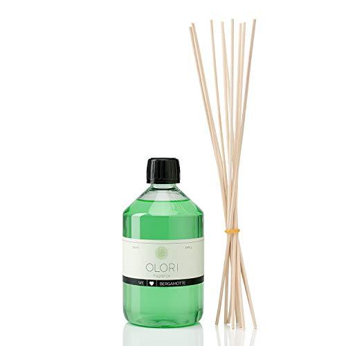 OLORI Refill Raumduft Nachfüllflasche - Bergamotte - 500 ml - inklusive 10 Stäbchen - verschiedene Düfte - frisch, fruchtig (E-stab-refill)