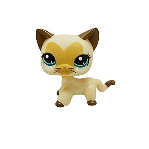 dreamsLE_Pet toy store Brown Tan Creme Kurze Haare Katze Gesicht Herz Pet Shop Katze Kitty LPS #3573 Für Kinder Mädchen Jungen (Gelbe Liebe)