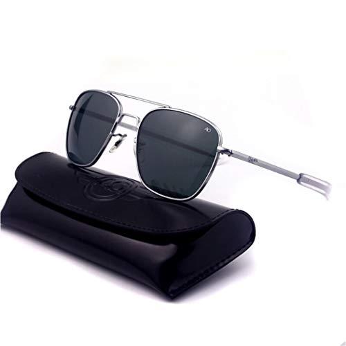 YONGYONG-Sunglasses Sonnenbrille Pilot USA Boutique AO Innenbeschichtung Platte Beine 1,5 Dicke Polarisierte Sonnenbrille Mit Verpackung Männer Und Frauen (Farbe : Silber)