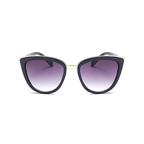 Fashion Classic Frauen Markendesigner Cateye Sonnenbrille Weibliche Vintage Lady Sonnenbrille Oculo De Sol Shades Sommer Stil (Lenses Color : Black)