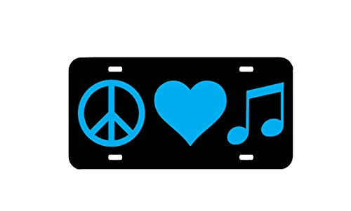 Peace Love Nummernschild, Autokennzeichen, Autokennzeichen, Nummernschild, Musikliebhaber, Band Geek Plakette, High School Band Car Plate Vanity Tag mit 4 Löchern, Autozubehör, 15,2 x 30,5 cm
