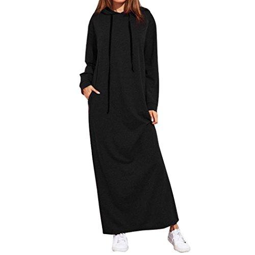 OverDose Damen Herbst Daily Sport Style Frauen Maxi Kleid Langarm mit Kapuze Damen Casual Hoodies Golf Outdoor Dating dünne Lange Kleider(Schwarz,EU-42/CN-L)