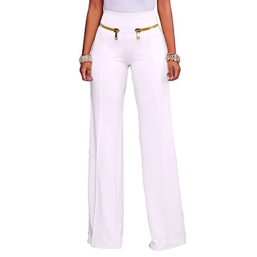 Sg Women High Waisted Wide Leg Long Pants with Zippers Workwear Trousers
