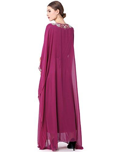 Musulmane robe de mariée caftan/kaftan jalabiya femmes musulmanes vêtements / Islam longue jupe robe de soirée partie abaya LF14 Violet