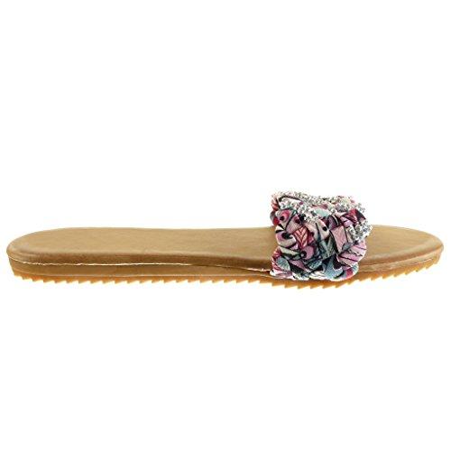 Angkorly Scarpe Moda Sandali Infradito Donna Tanga Intrecciato Strass Tacco Tacco Piatto 1.5 cm Rosa