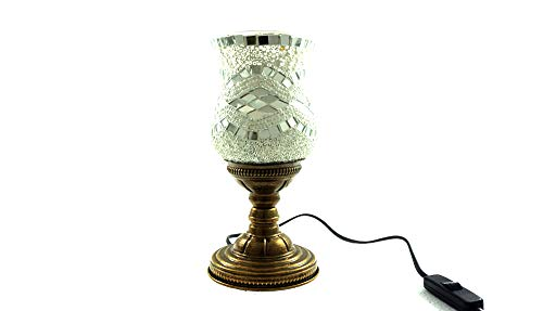 Handgefertigte Orientalisch Türkisch Asiatisch Mosaik Tisch Lampe Innenleuchte Nachttischlampe Beistelllampe Handarbeit Mosaik Glas Tischlampe Tulpe (Silber)