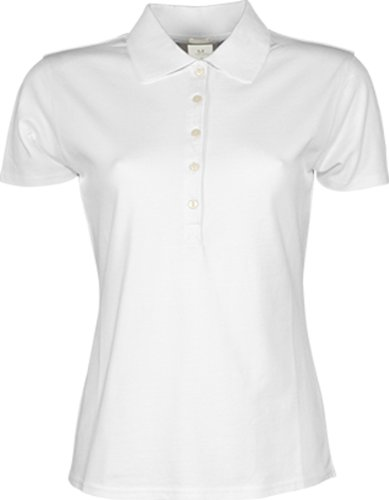 TJ145 Ladies Stretch 5 Button Polohemd Poloshirt L,White (Piqué Damen Stretch Polo)