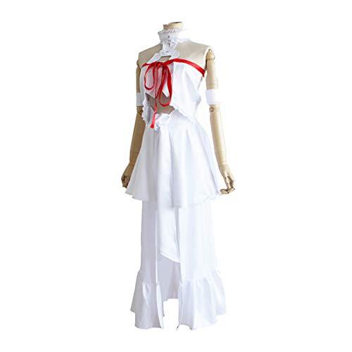 RL Anime SAO Schwert Art Online 3 Fairy Dance Cosplay Asuna Yuuki Perucas Kostüm Weiß Tops Rock Halloween Party Anzug,White-XL (Party Anzug White)