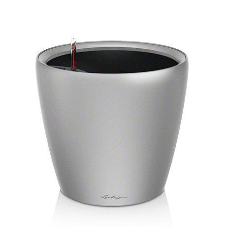 Lechuza Premium Classico 43cm Silber Hochglanz Selbstwässernder Traditionell Runder Pflanztopf (Anzeige Home Akzente)