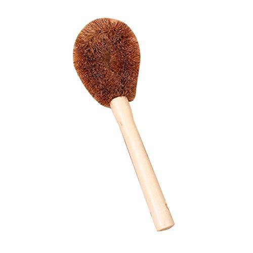 Fish Coconut Fiber Long Hand Pot Washing Brush Non-Stick Oil Bowl Brush for Kitchen Cleanup/Decontamination