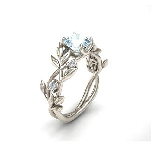 MYJ Blumen-Schmucksache-Art- und WeiseZircon Handgemachte Prinzessin-Verlobungsring-Gold überzogener Saphir-Ring,Hellblau,Nummer 7