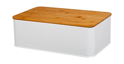 Cajón del pan de Tivoli hecho del metal/con la tapa hecha fuera de bambú/de 33 x 20, 9 x 11, 9 cm/lugar perfecto para almacenar su pan/rectangular/color: blanco