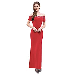 YOYAKER Women's Mermaid Off Shoulder Evening Formal Gown Floral Lace Cocktail Party Dress Red L