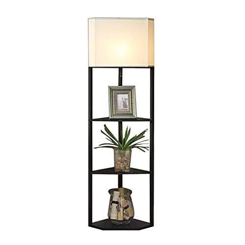Wenhui Regal & LED Stehlampe Kombination, Moderne Ecke Stehlampe mit 3 Holz-Display-Ablagen für Wohnzimmer Schlafzimmer Nacht -