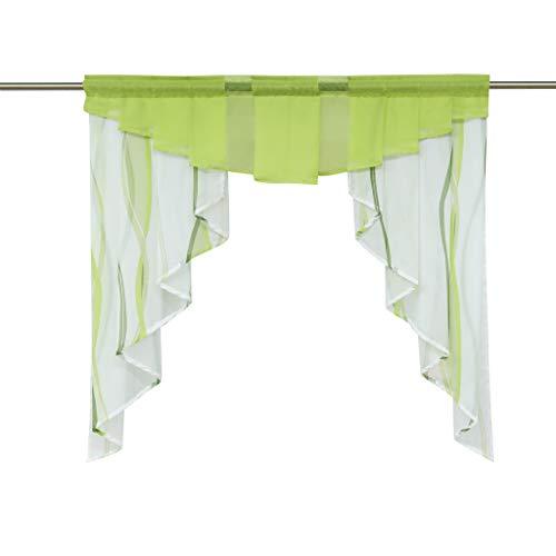HongYa Tunnelzug Scheibengardine transparenter Voile Kurzgardine für Kleinfenster H/B 100/100 cm Creme Grün