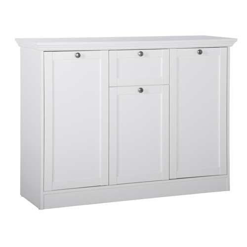 Kommode in weiß, mit 2 großen Türen, 1 kleine Tür, 1 Schubkasten, 1 großer/kleiner E-Boden, Maße: B/H/T ca. 120/90/40 cm - 2