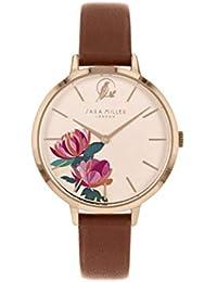Sara Miller The Peony Collection SA2038 - Reloj con Correa de Piel chapada en Oro Rosa
